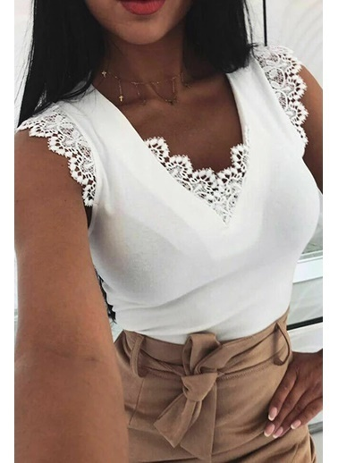 BLACK&GRACE Siyah Sırt Detaylı ve Motifli Bluz Beyaz